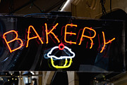 Advertisement Photo Prints - Neon Bakery Sign Print by Inti St. Clair