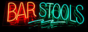 Electric Signs Posters - Neon Bar Stools Poster by Steven Milner