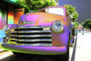 Oldies Prints - Neon Chev Print by Karol  Livote