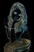Lonely Girl Digital Art - Neon Dejection by Betty LaRue