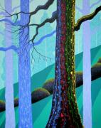 Trees Forest Paintings - Neon Forest by Larissa Holt