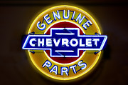 Chevy Prints - Neon Genuine Chevrolet Parts Sign Print by Mike McGlothlen