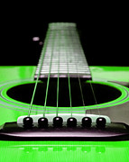Neck Digital Art Posters - Neon Green Guitar 18 Poster by Andee Photography