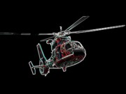 Helicopter Digital Art Prints - Neon Helo - Digital Art Print by Al Powell Photography USA