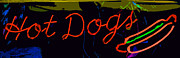 Hot Dogs Art - Neon Hot Dogs by Bill Owen