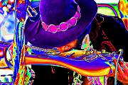 Music Digital Art - Neon Jimi by Jeff Cornette  InTheZonePhotography