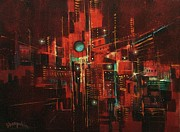 Abstract Expressionism Paintings - Neon Jungle by Tom Shropshire
