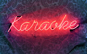 Karaoke Posters - Neon Karaoke Sign Poster by Jonathan Kitchen