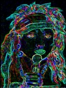 Bic Artist Prints - Neon Lady Print by Jerry  Stith