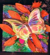 Lights Mixed Media Prints - Neon Lights Butterfly on Boxed Canvas Print by Anne-Elizabeth Whiteway