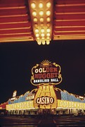 Fremont Street Framed Prints - Neon Lights Of The Golden Nugget Casino Framed Print by Everett