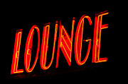 Lounge Digital Art Prints - Neon Lounge Sign Print by AdSpice Studios