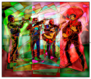 Art Of Mexico Framed Prints - Neon Mariachi Framed Print by Dean Gleisberg