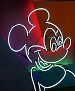 Magic Kingdom Digital Art - Neon Mickey by Rob Hans