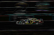 Sports Digital Art Metal Prints - Neon Nascar Metal Print by Tyra  OBryant