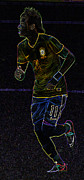 Neymar Photos - Neon Neymar II by Lee Dos Santos