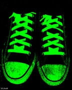 Foot Wear Prints - Neon Nights Print by Ed Smith