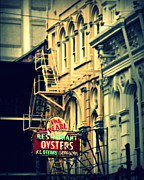 Creole Prints - Neon Oysters Sign Print by Perry Webster