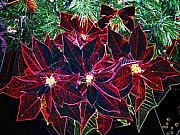 Christmas Card Originals - Neon Poinsettias by Nancy Mueller