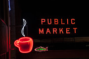 Coffee Mug Prints - Neon Public Market Print by Timothy Johnson