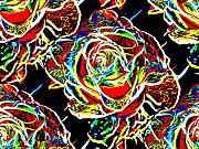 Tim Allen Prints - Neon Rose Print by Tim Allen