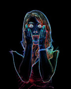 Scared Digital Art Prints - Neon Scream Print by Betty LaRue