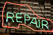 Retail Framed Prints - Neon Shoe Repair Sign Framed Print by Frederick Bass