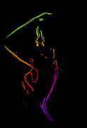 Neon Shower Girl Print by Stefan Kuhn