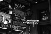French Quarter Digital Art Posters - Neon Sign Bourbon Street Corner French Quarter New Orleans Black and White Poster Edges Digital Art Poster by Shawn OBrien