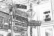 Photocopy Prints - Neon Sign on Bourbon Street Corner French Quarter New Orleans Black and White Photocopy Digital Art Print by Shawn OBrien