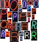 neon sign series O through R Print by Michael Ledray