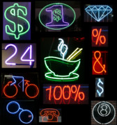 Business Greeting Cards Art - Neon Sign series of various symbols by Michael Ledray