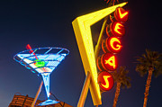 Fremont Street Framed Prints - Neon Signs In Fremont Street, Downtown Las Vegas Framed Print by Siegfried Layda
