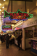 Seattle Waterfront Framed Prints - Neon Signs Framed Print by Timothy Johnson