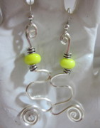 Spirals Jewelry - Neon Spiral Earrings by Janet  Telander