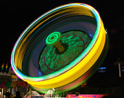Amusement Park Ride Framed Prints - Neon Tilt A Whirl Framed Print by Sonja Quintero