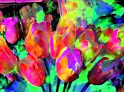 Spring Flowers Digital Art Framed Prints - Neon Tulips Framed Print by Linnea Tober