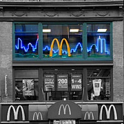 Mcdonalds Prints - Neon Twin Towers Print by Andrew Fare
