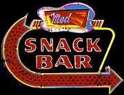 Restaurant Sign Prints - Neon Vintage Snack Bar Sign Print by ArtyZen Studios