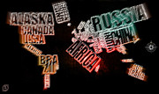 Typography Map Digital Art - Neon Word Map by The DigArtisT