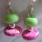 Abstract Jewelry - Neon Worlds Earrings by Janet  Telander