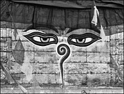 Schweitzer Prints - Nepal Svayambunath Eyes of the Buddha Print by Urs Schweitzer