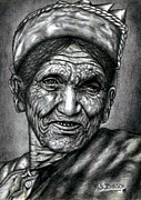 Cap Drawings Posters - Nepali Old Woman In Pencil Work Poster by Johnson Moya