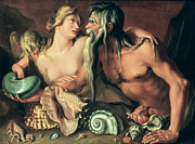 Sea Shells Painting Posters - Neptune and Amphitrite Poster by Jacob II de Gheyn