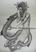 Neptune Drawings Prints - Neptune and Serpent Print by Erik Loiselle