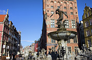 Polish Culture Prints - Neptune Fountain in Gdansk Print by Artur Bogacki