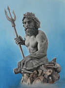 Greek Sculpture Mixed Media Framed Prints - Neptune Framed Print by Miguel Rodriguez