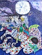 Sea Tapestries - Textiles Prints - Neptune Rides the Sea Print by Carol Law Conklin
