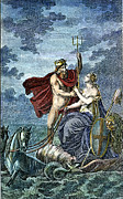 Chariot Posters - Neptune, Roman God Of Sea Poster by Granger