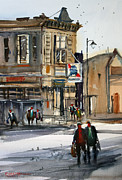 Streetscape Painting Originals - Neshkoro Tavern by Ryan Radke